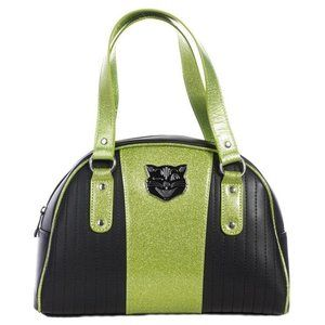 Sourpuss Jinx Tuck and Roll Purse in Green